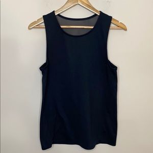 Oiselle Black Mesh Top Back Tank